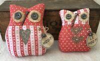 Primitive Ornies VALENTINE LOVE OWL Pair Prim Ornies Bowl Fillers tucks