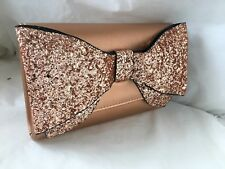 NEW CHAMPAGNE ROSE GOLD GLITTER FAUX LEATHER  BOW EVENING DAY CLUTCH BAG XMAS