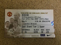 2006/07 Manchester United V Reading FA Cup 5th Round Ticket Stub