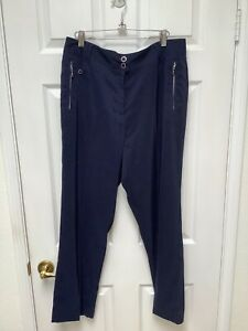 DKNY Golf Women's Golf Pants Size 14 Navy Blue Decorative Metallic Zippers Logo
