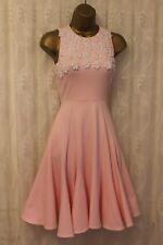 Ukulele Pink Daisy Floral Embellished Fit Flare Skater Party Dress 8 36 £170