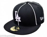 New Era 59Fifty Cap Mens MLB Los Angeles Dodgers Black Piping LA Fitted Hat 5950
