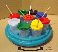 Art & Craft Rotating Carousel With 9 Water / Paint Pots + Lids - Present / Gifts
