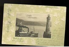 1902 Lindau Germany Real Picture Postcard Cover Bavaria stamp lighthouse ship