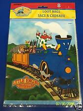 RARE Little Engine That Could Train Kids Birthday Party Favor Sacks Loot Bags
