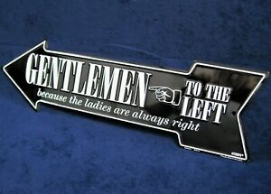 GENTLEMEN LEFT Arrow - *US MADE* Embossed Metal Sign - Man Cave Garage Bar Decor