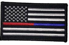 US FLAG THIN BLUE RED LINE POLICE FIREFIGHTER HOOK USA FLAG PATCH  (3.5 x 2.0)