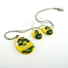 Handmade Fused Pendant Necklace Earrings Yellow White Green
