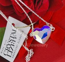925 Sterling Silver Necklace Crystals From Swarovski® HEART Crystal AB 14mm