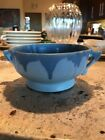 "Roseville Carnelian I Blue Drip Glaze Bowl wirh Handles 3.125"" Tall 8.25"" Wide"