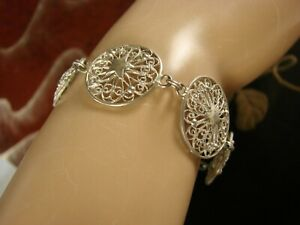 Vintage Filigree  Bracelet Possibly Pewter or Nickel Silver SCBC9