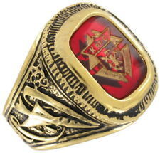 Men's Gold Tone Red Glass Knights Of Columbus Ring Sz 10