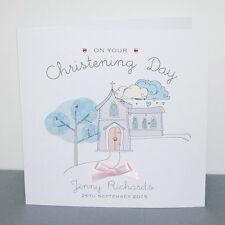 Personalised Handmade Christening Card Godson Boy Girl Goddaughter Church