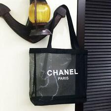CHANEL Black Mesh Shopper Shopping Eco Beach Tote bag Counter VIP Gift