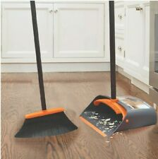 Broom And Dustpan. Dustpan Cleans Broom. 40in Handle With Extension for 52in.