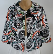 Coldwater Creek Medium M Blazer Jacket Black White Floral NWOT