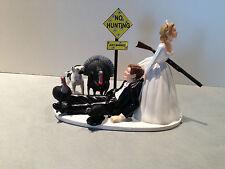 Hunt Hunter Hunting Humor Funny Bride Groom Wedding Cake Topper Turkeys Dog Gun