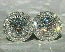 4 Ct Brilliant Round Cut VVS1 Diamond Halo Stud Earrings 14k White Gold Finish
