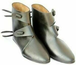 Roman Medieval Leather Shoes Reenactment Theater Black Color Fancy Good Style