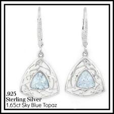 18K White Gold Plated Sterling Silver 1.65CTW Sky Blue Genuine Topaz Earrings