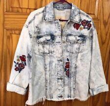 Hollister Womens Embroidered Boyfriend Jean Denim Jacket Ripped Acid Wash Size M