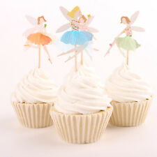 24PCS Fairy Children Party Birthday Cupcake Decorations Paper Cake Toppers Stick