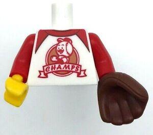 Lego New White Baseball Minifig Torso T-Shirt Red Trim CHAMPS Sports with Mitt