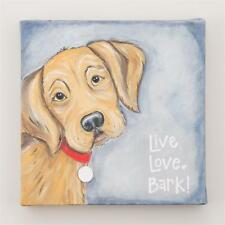 "NEW GLORY HAUS CANVAS PRINT - BROWN DOG ""LIVE LOVE BARK! ""  6"" x 6"""