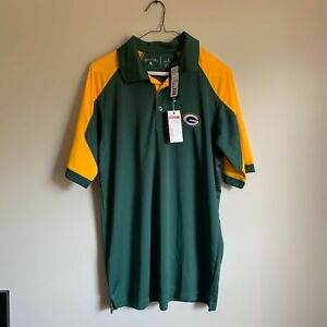 NWT Green Men's Large Antigua NFL Green Bay Packers Polo Embroidered