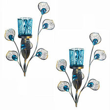 WALL SCONCE SET: 2 Peacock Inspired Turquoise Votive Candle Holders NEW