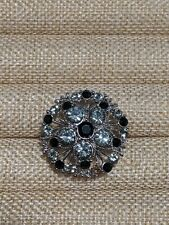 Silver Tone Black Open Rhinestone Open Cocktail Ring Size 8