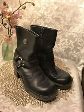 Harley Davidson Womens Black Leather Harness Ankle Boots Size 7.5M
