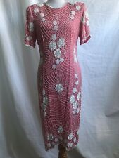 Vintage Scala Dress L PINK WITH WHITE BEADING Open Back Silk GORGEOUS