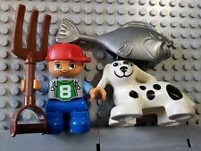 LEGO Duplo Boy Minifigure Dog Fish Animals Pitchfork