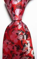 New Classic Floral Red Black White JACQUARD WOVEN 100% Silk Men's Tie Necktie