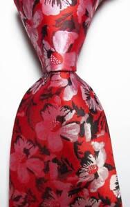 New Classic Floral Red Black White JACQUARD WOVEN 100% Silk Men's Tie Necktie