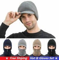 Mens Warm Hat Knit Visor Beanie Fleece Lined Billed Beanie with Brim Cap Winter
