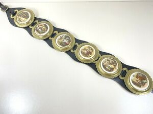 6 x Ceramic Horse Brasses On Leather Strap Back Stamped BB