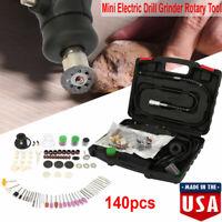 140 Pcs Electric Mini Drill Grinder Grinding Set Polishing Drilling Cutting Tool