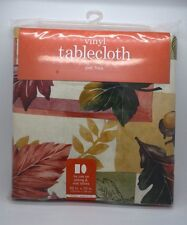 Vinyl Tablecloth Fall Leaves Acorn Rustic Warm Colors Flannel Back 52 x 70""