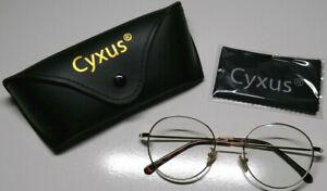 Cyxus Brille * Brillenfassung * Blaulichtfilter * Gold * Rund * Vintage * 131 mm