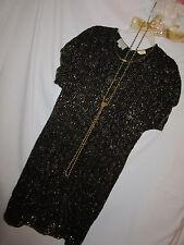 FLAPPER 1920s 20s Gatsby gangster black gold beaded dress halloween COSTUME   10