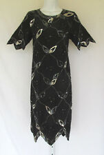 VINTAGE 1970s 80s ARGENTI SILK SEQUIN BEADED DRESS BLACK SILVER SIZE 10