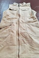Royal Robbins Tan Denim Jean Dress Sleeveless Exposed Zipper Stretch XL