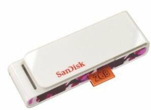 SanDisk 2GB Cruzer Tag Clip USB 2.0 Memory Stick USB Flash Pen Drive Pink White