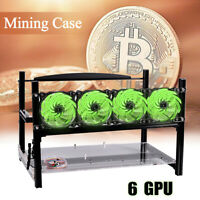 US 6 GPU Mining Rig Aluminum Stackable Case Open Air Frame Ethereum Bitcoin +Fan