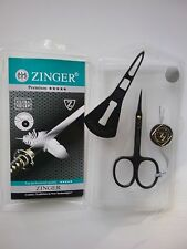 Zinger Premium nail, manicure,pedicure, cuticle scissors, plastic case  black