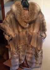 NEW genuine fur European Muskrat Dewlap and fox JACKET VEST COAT