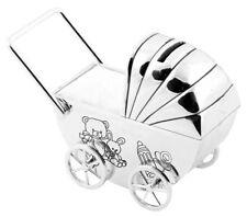 NEW - Girls Christening Gifts. Silverplated Teddy Pram Money Box / Moneybox Gift