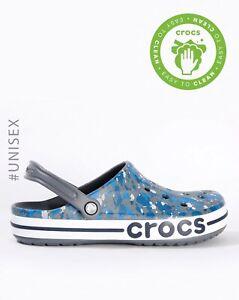 Crocs - M7/W9 - NEW Gorgeous Bayaband Printed Clog -  Charcoal / Navy - NWT